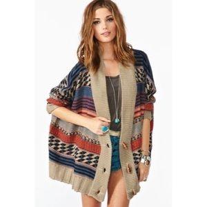 BB DAKOTA Navajo Print Oversized Sweater